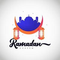 Ramadan Kareem full color logo vector template design illustrazione