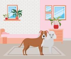 simpatici cagnolini in camera da letto vettore