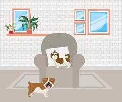 simpatici cagnolini in soggiorno vettore