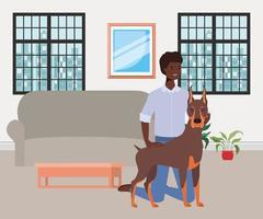 uomo afro con mascotte cane carino in soggiorno vettore