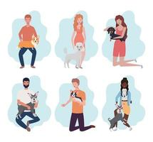 giovani con simpatici personaggi mascotte cani vettore