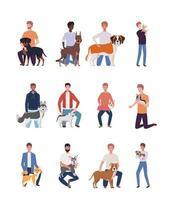giovani uomini con simpatici personaggi mascotte cani vettore