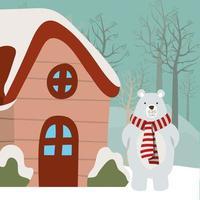 buon natale card con orso polare vettore