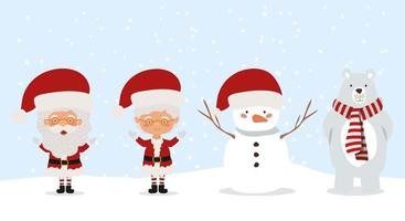 simpatici personaggi natalizi vettore