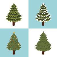 simpatici alberi di pino di Natale vettore
