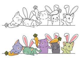 i gatti coniglietto amano le carote, pagina da colorare per bambini vettore