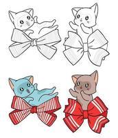 Personaggi di gatto con grandi fiocchi pagina da colorare per bambini vettore