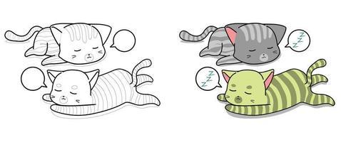 Gatti addormentati pagina da colorare dei cartoni animati per i bambini vettore