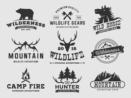 Logo design avventura foresta di montagna