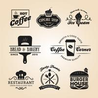 Set di logo distintivi di cibo e bevande vettore