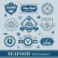 Insieme di progettazione di banner logo ristorante di pesce