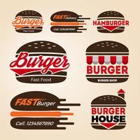 Set di design del logo icona negozio di hamburger