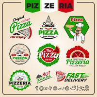 Set di modello di progettazione logo pizzeria vettore