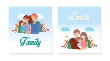 set famiglia carino e felice vettore