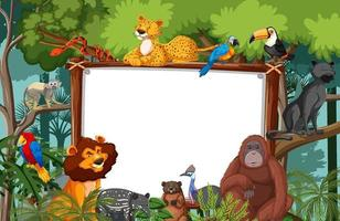 banner bianco nella scena della foresta pluviale con animali selvatici vettore