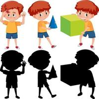 set di un ragazzo che tiene diversi strumenti di matematica con silhouette vettore