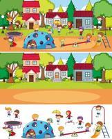 scena del parco impostato con molti bambini doodle personaggio dei cartoni animati isolato vettore