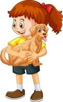 personaggio dei cartoni animati di ragazza felice che abbraccia un cane carino vettore