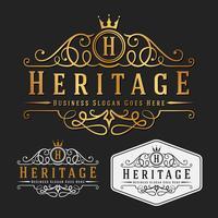 Modello di disegno ridimensionabile di lusso Royal Logo vettoriale