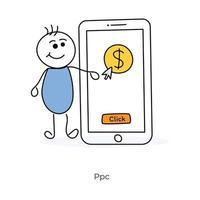 pay per click e personaggio dei cartoni animati vettore
