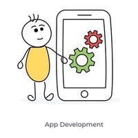 sviluppatore di app per cartoni animati vettore