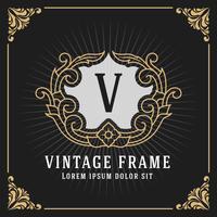 Monogramma di lusso Vintage Banner Template Design vettore