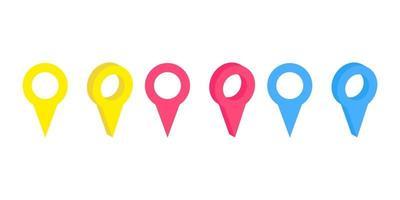 insieme di vettore dei perni di mappa isolati realistici sui precedenti bianchi. concetto di navigazione, trasporto, consegna e viaggio
