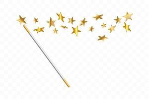 bacchetta magica con stelle 3d. traccia di polvere d'oro. magico sfondo astratto isolato. miracolo e magia. vettore