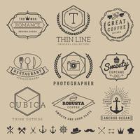 Set di logo distintivo linea sottile lineare per banner di etichette di prodotto vettore