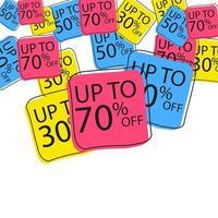 adesivi di sconto vettoriale. adesivi da collezione, cartellini dei prezzi. vendita, gratuito, nuovo vettore