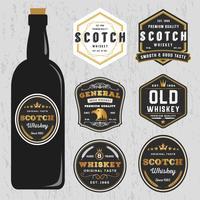 Design di etichette vintage Premium Whisky Marche