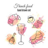 Illustrazioni di cibo francese. Disegni di pasticceria e caffè di vettore. Illustrazione di champange francese.