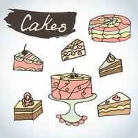 Set di torte dolci disegnati a mano. vettore