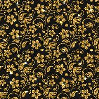 Reticolo senza giunte del damasco di vettore con i fiori. Design scintillio dorato. Sfondo floreale oro