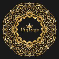 Cornice di glitter vettoriale gorden. Illustrazione di cornice oro vintage. Banner in oro con scintillii. Cornice di lusso con corona luminosa.