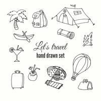 Set di elementi di viaggio. Disegno vettoriale di elementi del viaggiatore. Illustation disegnato a mano di viaggio.