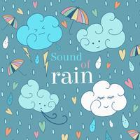 Scheda di tema di pioggia senza giunte di vettore. Simpatico biglietto di auguri e testo di esempio.