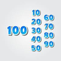 Le celebrazioni di anniversario di 100 anni hanno fissato l'illustrazione elegante di progettazione del modello di vettore di numero
