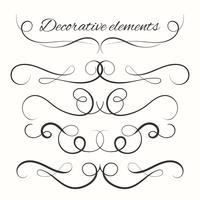 Set divisori disegnati a mano. Bordi decorativi impostati. Elementi decorativi ornamentali vettore