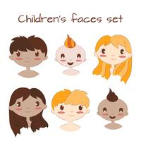 Illustrazione vettoriale di facce di bambini felici. Set di caratteri chilrdren simpatico cartone animato.