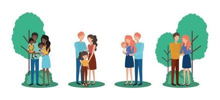 famiglia interrazziale carina e felice nel parco vettore