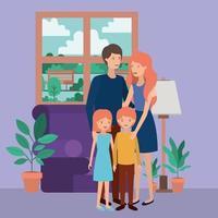 simpatici e felici membri della famiglia in soggiorno vettore