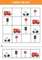 gioco di sudoku con mezzi di trasporto dei cartoni animati vettore