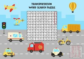 trasporto significa puzzle di ricerca per bambini in età prescolare. vettore