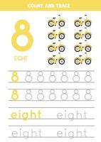 tracciare il foglio di lavoro dei numeri con le biciclette dei cartoni animati vettore
