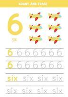 tracciare il foglio di lavoro dei numeri con aerei aerei dei cartoni animati. vettore