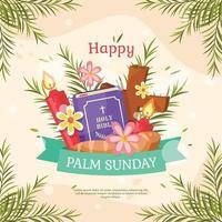 buona domenica delle palme con stile disegnato a mano vettore
