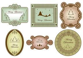 Pacchetto di vettore di etichetta vintage Merry Christmas