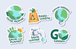 collezione di adesivi per la giornata della terra vettore