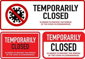 ufficio temporaneamente chiuso per set di segnali coronavirus vettore